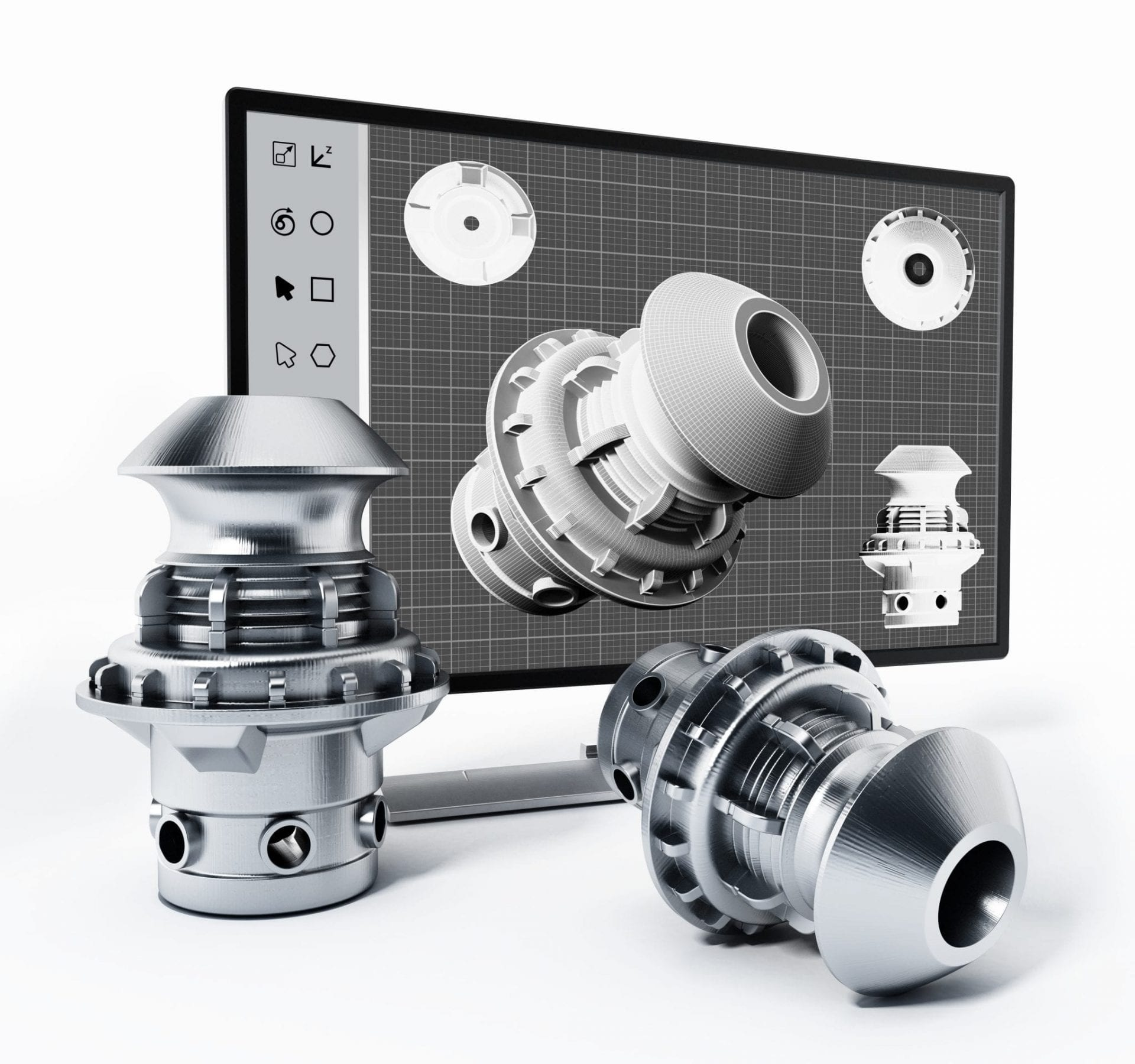3D Product Design Software And Manufactured Product. 3D